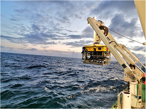 The Marine Institue's Holland 1 ROV being deployed from the RV Celtic Explorer as it 'holds' the deep sea monitoring system (attached to the front) before descending to the deep sea (credit Aaron Lim).