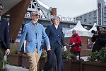© Joel Goodman - 07973 332324 . 02/10/2017. Manchester, UK. Prime Minister THERESA MAY and husband PHILIP MAY cross to the Midland Hotel after visiting the conference centre , at the start of the second day of the Conservative Party Conference at the Manchester Central Convention Centre . Photo credit : Joel Goodman