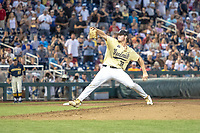 Vanderbilt Commodores pitcher Jake Eder (39) delivers a pitch to the plate against the Michigan Wolverines during Game 3 of the NCAA College World Series Finals on June 26, 2019 at TD Ameritrade Park in Omaha, Nebraska. Vanderbilt defeated Michigan 8-2 to win the National Championship. (Andrew Woolley/Four Seam Images)