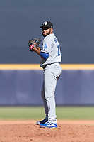 Glendale Desert Dogs relief pitcher Jordan Sheffield (10), of the Los Angeles Dodgers organization, gets ready to deliver a pitch during an Arizona Fall League game against the Peoria Javelinas at Peoria Sports Complex on October 22, 2018 in Peoria, Arizona. Glendale defeated Peoria 6-2. (Zachary Lucy/Four Seam Images)
