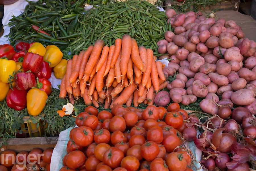 Vegetables for sale in the markets of Marrakech, Morocco
