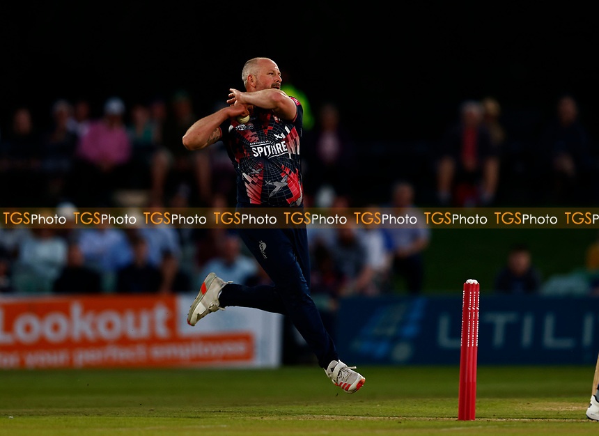 Darren Stevns bowls for Kent during Kent Spitfires vs Hampshire Hawks, Vitality Blast T20 Cricket at The Spitfire Ground on 9th June 2021