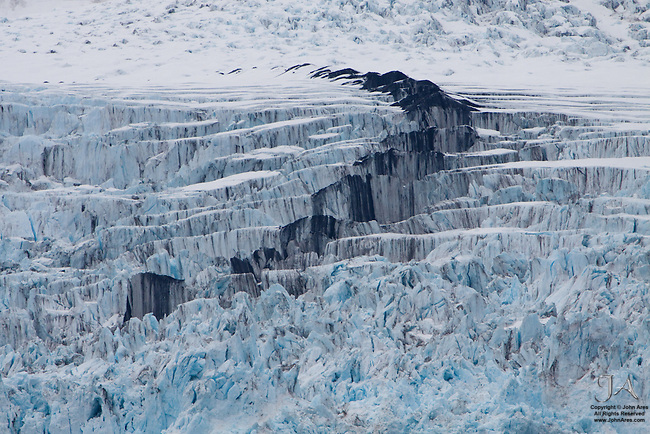 Moraine in middle of Surprise Glacier in Prince William Sound, Alaska