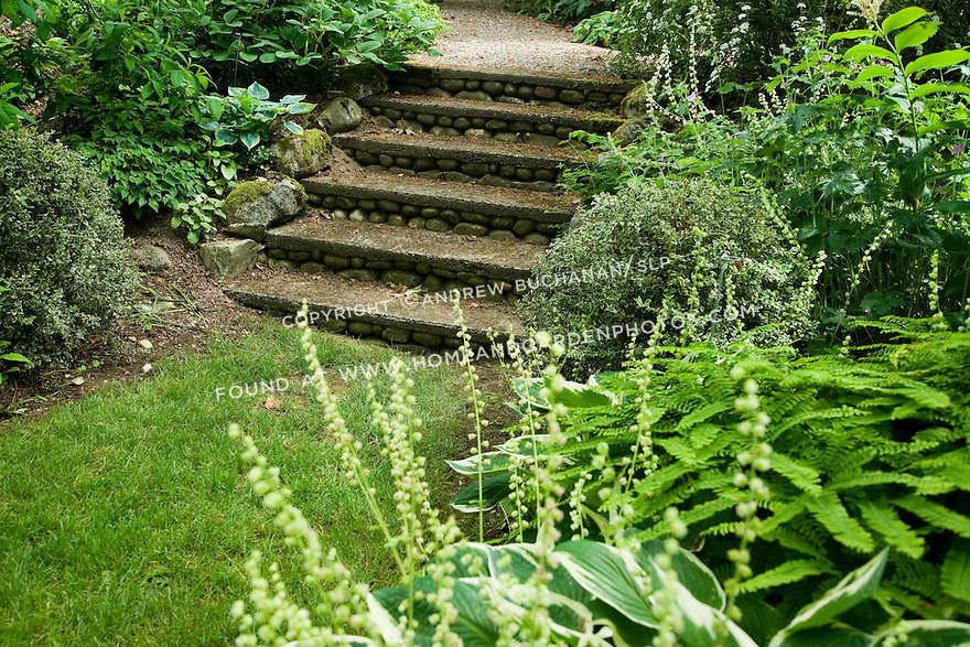 A short, weathered set of stacked stone steps changes the grade along a path at the Dunn Gardens, a former private estate near Seattle now run as a woodland botanical garden and available for touring by appointment and fee.