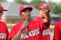 Batavia Muckdogs outfielder Virgil Hill #1 introduces himself to the crowd during the teams pre-season pep rally at Dwyer Stadium on June 15, 2011 in Batavia, New York.  Photo By Mike Janes/Four Seam Images