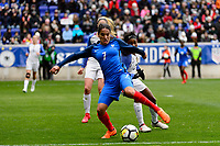 Harrison, NJ - Sunday March 04, 2018: Amel Majri, Taylor Smith during a 2018 SheBelieves Cup match match between the women's national teams of the United States (USA) and France (FRA) at Red Bull Arena.