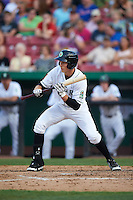 Kane County Cougars outfielder Colin Bray (8) squares to bunt during a game against the Great Lakes Loons on August 13, 2015 at Fifth Third Bank Ballpark in Geneva, Illinois.  Great Lakes defeated Kane County 7-3.  (Mike Janes/Four Seam Images)