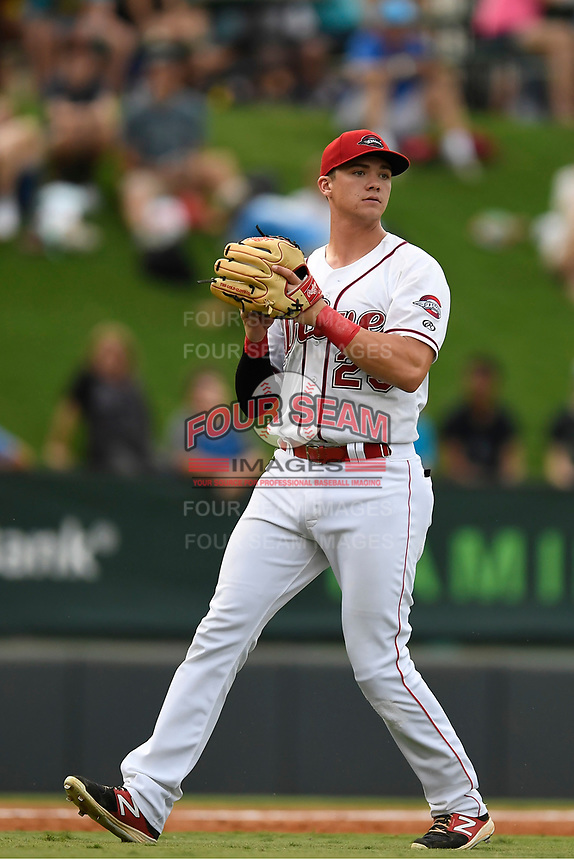 Thrd baseman Bobby Dalbec (23) of the Greenville Drive plays defense in a game against the Charleston RiverDogs on Thursday, July 27, 2017, at Fluor Field at the West End in Greenville, South Carolina. Charleston won, 5-2. (Tom Priddy/Four Seam Images)
