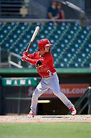 Palm Beach Cardinals shortstop Kramer Robertson (3) at bat during a game against the Jupiter Hammerheads on August 5, 2018 at Roger Dean Chevrolet Stadium in Jupiter, Florida.  Jupiter defeated Palm Beach 3-0.  (Mike Janes/Four Seam Images)