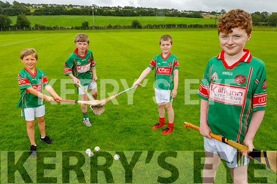 Crotta O'Neills juvenile hurling players get ready for the re opening of the field in Crotta. Front right: Diarmuid O'Driscoll.<br /> Back l to r: Edward Nolan, Tomas Breen and Jack Kelliher.