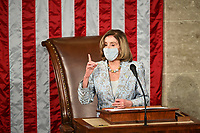 Speaker of the United States House of Representatives Nancy Pelosi (Democrat of California) speaks on the opening day of the 117th Congress at the U.S. Capitol in Washington, DC on January 3, 2021. <br /> CAP/MPI/RS<br /> ©RS/MPI/Capital Pictures