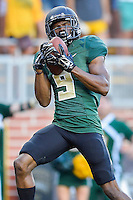 Baylor wide receiver KD Cannon (9) catches a pass for touchdown during first half of NCAA inaugural Football game at newly constructed McLean Stadium, Sunday, August 31, 2014 in Waco, Tex. Baylor leads SMU 31-0 in the first half. (Mo Khursheed/TFV Media via AP Images)