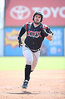 Connor Panas (27) of the Lake Elsinore Storm runs the bases during a game against the Inland Empire 66ers at San Manuel Stadium on June 5, 2019 in San Bernardino, California. (Larry Goren/Four Seam Images)