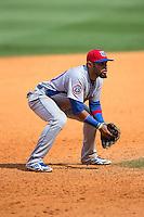 Tennessee Smokies third baseman Ryan Dent (30) on defense against the Birmingham Barons at Regions Field on May 4, 2015 in Birmingham, Alabama.  The Barons defeated the Smokies 4-3 in 13 innings. (Brian Westerholt/Four Seam Images)