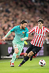 Lionel Andres Messi (l) of FC Barcelona competes for the ball with Mikel San Jose Dominguez of Athletic Club during their Copa del Rey Round of 16 first leg match between Athletic Club and FC Barcelona at San Mames Stadium on 05 January 2017 in Bilbao, Spain. Photo by Victor Fraile / Power Sport Images