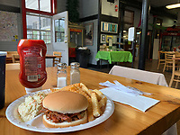Cass, West Virginia. Lunch: Pulled Pork Sandwich, French Fries, Cole Slaw with Beverage.