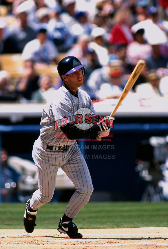Jay Bell of the Arizona Diamondbacks participates in a Major League Baseball game at Dodger Stadium during the 1998 season in Los Angeles, California. (Larry Goren/Four Seam Images)