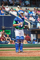 Hartford Yard Goats catcher Dom Nunez (9) during a game against the Trenton Thunder on August 26, 2018 at Dunkin' Donuts Park in Hartford, Connecticut.  Trenton defeated Hartford 8-3.  (Mike Janes/Four Seam Images)