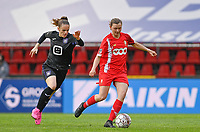Amber Maximus (9) of Anderlecht pictured with Yuna Appermont (6) of Standard  during a female soccer game between Standard Femina de Liege and RSC Anderlecht on the 8th matchday in play off 1 of the 2020 - 2021 season of Belgian Scooore Womens Super League , tuesday 18 th of May 2021  in Angleur , Belgium . PHOTO SPORTPIX.BE | SPP | DAVID CATRY