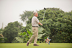 Michael Douglas tees off during the World Celebrity Pro-Am 2016 Mission Hills China Golf Tournament on 23 October 2016, in Haikou, Hainan province, China. Photo by Marcio Machado / Power Sport Images