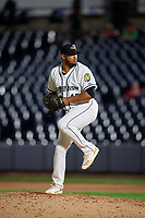 Akron RubberDucks pitcher Dalbert Siri (45) during an Eastern League game against the Reading Fightin Phils on June 4, 2019 at Canal Park in Akron, Ohio.  Akron defeated Reading 8-5.  (Mike Janes/Four Seam Images)