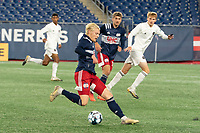 FOXBOROUGH, MA - OCTOBER 09: Connor Presley #7 of New England Revolution II bringing the ball forward during a game between Fort Lauderdale CF and New England Revolution II at Gillette Stadium on October 09, 2020 in Foxborough, Massachusetts.