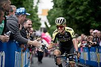 Esteban Chavez (COL/Mitchelton-Scott) at the race start in Ivrea<br /> <br /> Stage 15: Ivrea to Como (232km)<br /> 102nd Giro d'Italia 2019<br /> <br /> ©kramon