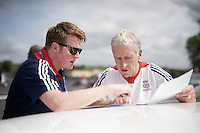 British Cycling's performance coach Rod Ellingworth & colleague checking out the latest details concerning the TT<br /> <br /> Elite Men TT<br /> UCI Road World Championships / Richmond 2015