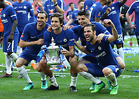 19th May 2018, Wembley Stadium, London, England; FA Cup Final football, Chelsea versus Manchester United; Cesc Fabregas of Chelsea, Alvaro Morata of Chelsea, Marco Alonso of Chelsea and Davide Zappacosta of Chelsea celebrate with the FA Cup