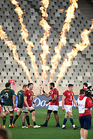 (L to R) Tom Curry, Taulupe Faletau and Owen Farrell - British & Irish Lions players walk off the field dejected at the end of the match following a 27-9 defeat to the Springboks in the 2nd Test match.<br /> South Africa v British & Irish Lions, 2nd Test, Cape Town Stadium, Cape Town, South Africa,  Saturday 31st July 2021. <br /> Please credit: FOTOSPORT/DAVID GIBSON