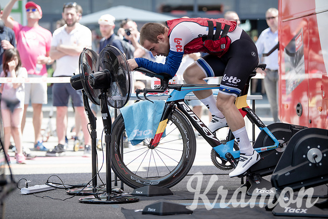 European TT champion Victor Campenaerts (BEL/Lotto-Soudal) getting ready for his attempt to win the final TT<br /> <br /> Stage 21 (ITT): Verona to Verona (17km)<br /> 102nd Giro d'Italia 2019<br /> <br /> ©kramon