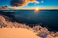 A winter sunset from one of the most expansive views of Lake Tahoe, the east shore.