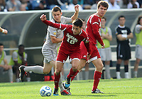 HOOVER, AL - DECEMBER 09, 2012: A.J. Corrado (10) of Indiana University gets the ball away from Keegan Rosenberry (12) of Georgetown University during the NCAA 2012 Men's College Cup championship, at Regions Park, in Hoover , AL, on Sunday, December 09, 2012.