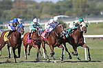 September 19, 2015. Uncle Dave (green cap, #5), Jorge Vargas up, wins the $100,000. Alphabet Soup Handicap Stakes, one and 1/16 miles on the turf for registered PA breds three and upwards, at  Parx Racing in Bensalem, PA.  Trainer is Marcos Zulueta, owner M-Z Racing Partnership. (Joan Fairman Kanes/ESW/CSM)