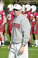 Buddy Teevens coaches on the first day of spring practice on April 3, 2002 at Stanford.<br />Photo credit mandatory: Gonzalesphoto.com