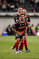 19th March 2021; Bankwest Stadium, Parramatta, New South Wales, Australia; A League Football, Western Sydney Wanderers versus Perth Glory; Mitch Duke thinks he's scored and so does James Troisi and Tate Russell of Western Sydney Wanderers but his goal is disallowed for offside
