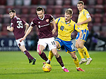 Hearts v St Johnstone…..14.12.19   Tynecastle   SPFL<br />Steven MacLean holds off Ali McCann<br />Picture by Graeme Hart.<br />Copyright Perthshire Picture Agency<br />Tel: 01738 623350  Mobile: 07990 594431