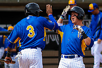 Wisconsin Timber Rattlers outfielder Monte Harrison (3) and second baseman Tucker Neuhaus (19) celebrate a home run by Neuhaus during a Midwest League game against the Quad Cities River Bandits on April 9, 2017 at Fox Cities Stadium in Appleton, Wisconsin.  Quad Cities defeated Wisconsin 17-11. (Brad Krause/Four Seam Images)