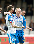 Motherwell v St Johnstone…05.05.18…  Fir Park    SPFL<br />Steven Anderson celebrates his goal with Steven MacLean<br />Picture by Graeme Hart. <br />Copyright Perthshire Picture Agency<br />Tel: 01738 623350  Mobile: 07990 594431