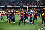 Barcelona´s players celebrate after winning the 2014-15 Copa del Rey final match against Athletic de Bilbao at Camp Nou stadium in Barcelona, Spain. May 30, 2015. (ALTERPHOTOS/Victor Blanco)