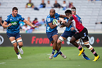 March 14th 2020, Eden Park, Auckland, New Zealand;  Blues Mark Telea holds off the challenge during the Super Rugby match between the Blues and the Lions, held at Eden Park, Auckland, New Zealand.