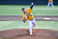 Western Illinois starting pitcher Jace Warkentien (6) delivers a pitch during a game against the University of Tennessee at Lindsey Nelson Stadium on February 15, 2020 in Knoxville, Tennessee. The Volunteers defeated Leathernecks 19-0. (Tony Farlow/Four Seam Images)