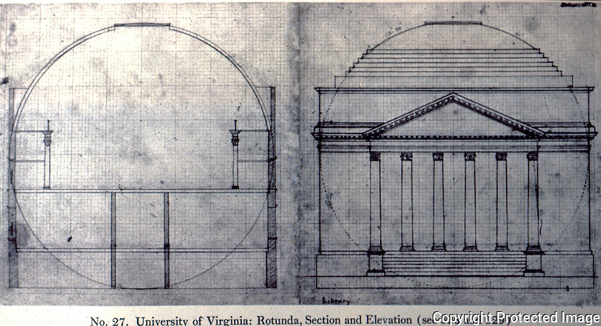 Thomas Jefferson: U. of Virginia. Rotunda, Section and Elevation. Drawing--Ref. only.