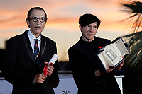 CANNES, FRANCE - JULY 17: Russell Mael and Ron Mael pose with the 'Best Director Award' in the name of Leos Carax for 'Annette' during the 74th annual Cannes Film Festival on July 17, 2021 in Cannes, France.<br /> CAP/GOL<br /> ©GOL/Capital Pictures