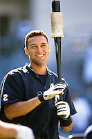 Derek Jeter of the New York Yankees during a game against the Anaheim Angels circa 1999 at Angel Stadium in Anaheim, California. (Larry Goren/Four Seam Images)