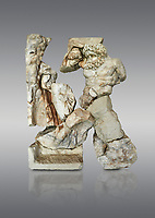 Roman Sebasteion relief  sculpture of Polyphemos and Galatea Aphrodisias Museum, Aphrodisias, Turkey. <br /> <br /> Another mythological love story affirms the power of Aphrodite. The sea nymph Galatea resists the lustful advances of the beastly cycolps Polyphemas in his cave. Polyphemos sits on a rock and tries to pull Galatea between his legs. His right arm is round her back: note the huge hand on her backside.