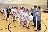 Hamilton Boys' High School receives their medal for first place at the Futsal NZ Secondary Schools Junior Boys Final between Hamilton Boys High School and Selwyn College at ASB Sports Centre, Wellington on 26 March 2021.<br /> Copyright photo: Masanori Udagawa /  www.photosport.nz