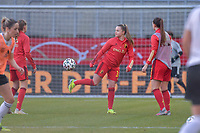 Belgian Davinia Vanmechelen (14) pictured during a friendly female soccer game between the national teams of Germany and  Belgium , called the Red Flames  in a pre - bid tournament called Three Nations One Goal with the national teams from Belgium , The Netherlands and Germany towards a bid for the hosting of the 2027 FIFA Women's World Cup , on Sunday 21 st of February 2021  in Aachen , Germany . PHOTO SPORTPIX.BE   SPP   STIJN AUDOOREN