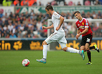 Pictured: Gylfi Sigurdsson of Swansea Sunday 30 August 2015<br /> Re: Premier League, Swansea v Manchester United at the Liberty Stadium, Swansea, UK