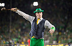 September 1, 2018; ; The Irish Leprechaun cheers during the season opening football game against Michigan. (Photo by Barbara Johnston/University of Notre Dame)